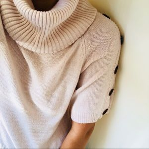 Sweaters - Pink & Brown Button Sleeve Cowl Neck Sweater
